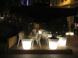 Cafe Seats with Lighted Flower Pots by sovine5