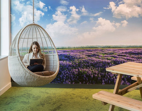 room with a mural of a lilac field with green carpet and a swing in the corner with a woman using a laptop