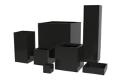 image of a cube and column collection of planters with a variety of tall square planters, and short square planters