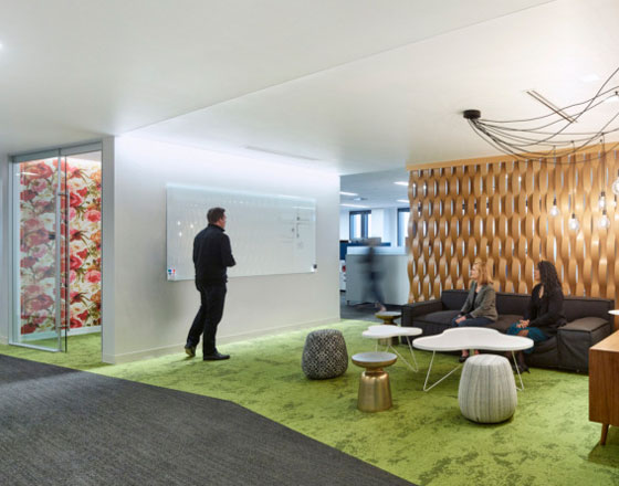 forest city office open meeting space with green carpet and geometric wooden wall divider