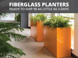 Fiberglass planters ready to ship in as little as 3 days!